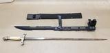 FOREARM ZOMBIE MACHETE SWORD BLADE KNIFE W/ CANVAS SHEATH & A SWORD