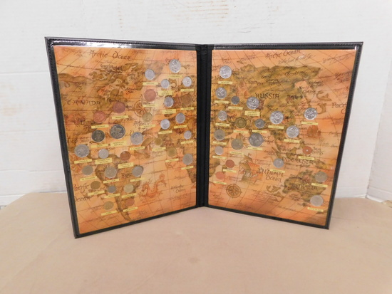 (50) ASSORTED FOREIGN COINS IN MAP FOLDER