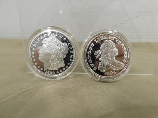 HERALDIC EAGLE REVERSE COPY & 1889 MORGAN COPY COINS
