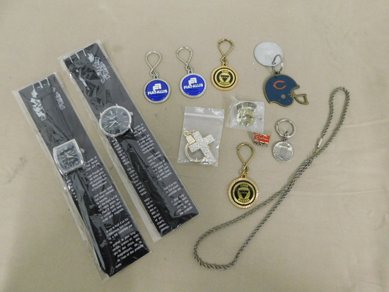 (2) EIGER WRIST WATCHES & ASSORTED KEY CHAINS, HAT PINS & NECKLACE