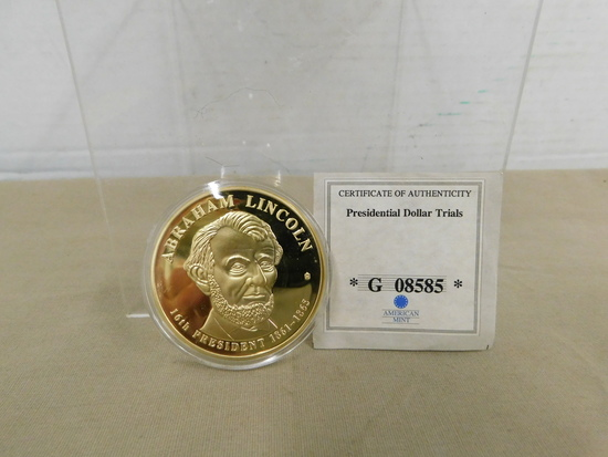 ABRAHAM LINCOLN PRESIDENTIAL DOLLAR TRIALS COIN - PROOF
