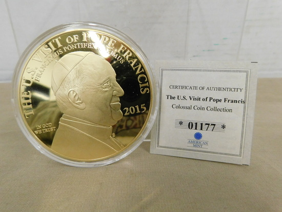 "2015 ""THE U.S. VISIT OF POPE FRANCIS"" COLOSSAL PROOF COIN"