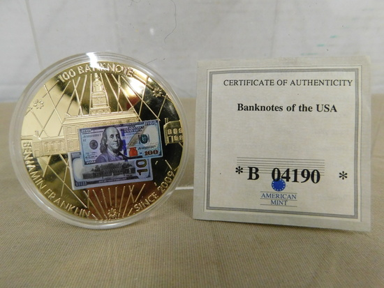 BANKNOTES OF THE U.S.A - BENJAMINAN FRANKLIN $100 BANKNOTE PROOF COIN