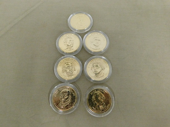 SET OF (7) GOLD ENRICHED PRESIDENTIAL DOLLARS