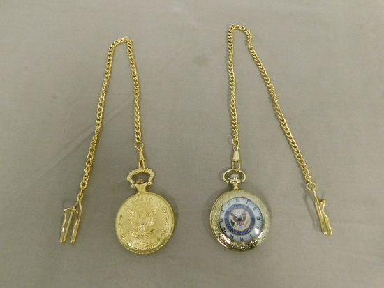 (2) GOLD TONE POCKET WATCHES W/ CHAIN