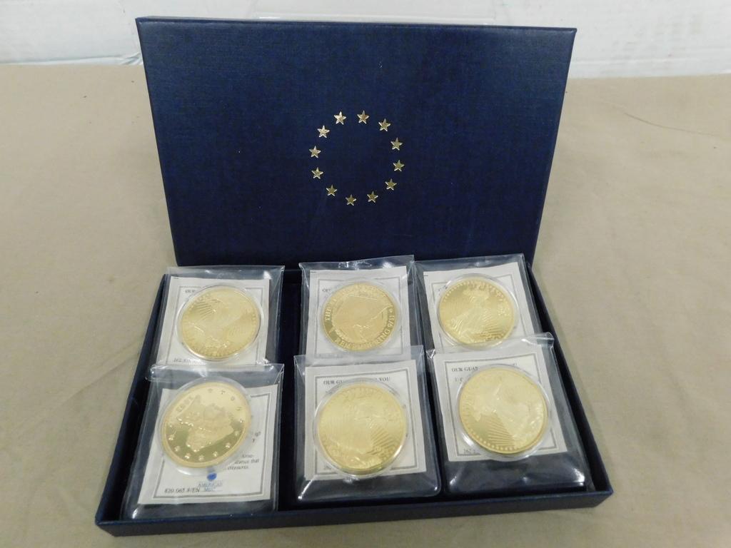 (6) ASSORTED U.S. COIN REPLICAS IN BOX