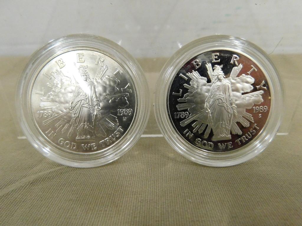 1989S & 1989D  CONGRESS BICENTENNIAL SILVER DOLLARS