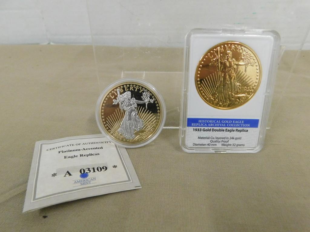 (2) 1933 GOLD DOUBLE EAGLE REPLICA COINS