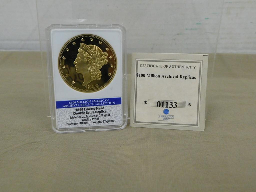 1849 LIBERTY HEAD DOUBLE EAGLE REPLICA COMMEMORATIVE COIN
