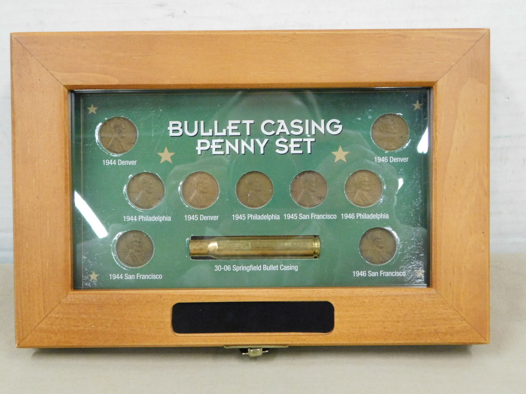 BULLET CASING PENNY SET IN DISPLAY BOX