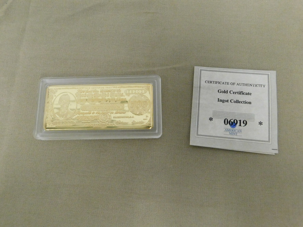 1922 $500 GOLD CERTIFICATE  INGOT COMMEMORATIVE
