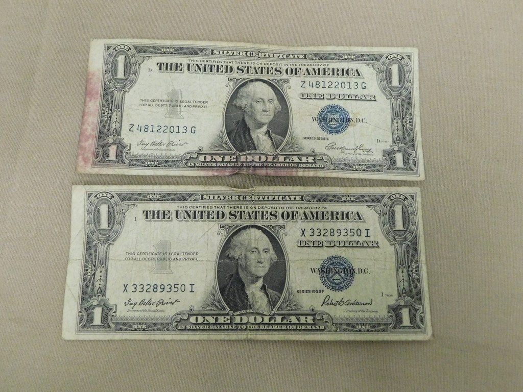 (2) $1 BLUE SEAL SILVER CERTIFICATES
