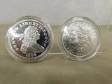 1884 MORGAN SILVER DOLLAR & 1804 HERALDIC EAGLE REVERSE COPY