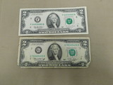(2) GREEN SEAL $2 FEDERAL RESERVE NOTES