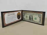 GENUINE UNITED STATES JOSEPH BARR $1 NOTE IN FOLDER