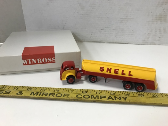 WINROSS 1/64 SCALE SHELL; OIL CO. SEMI TRUCK & TANKER TRAILER