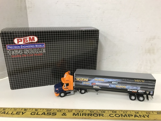 "PEM 1/64 SCALE ROADWAY ""NO ZONE"" SEMI TRACTOR & TRAILER"