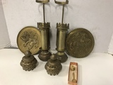 BRASS CANDLE SCONCES & METAL WALL POCKETS