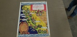 VINTAGE WINE MAP OF CALIFORNIA - LIMNED BY RUTH TAYLOR & KEY TO THE WINE TOWNS OF CALIFORNIA