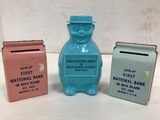 (3) VINTAGE FIRST NATIONAL BANK OF ROCK ISLAND PLASTIC COIN BANKS