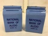 (2) VINTAGE  NATIONAL BANK OF ALEDO PLASTIC COIN BANKS