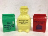 (2) VINTAGE PLASTIC COIN BANKS - 1ST NATIONAL BANK OF ROCK ISLAND & R.I. BANK AND TRUST