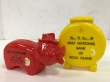 (2) VINTAGE FIRST NATIONAL BANK OF ROCK ISLAND PLASTIC COIN BANKS