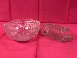 CRYSTAL ROSE BOWL & GLASS BUTTER DISH