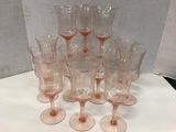 (12) ETCHED PINK DEPRESSION GLASS GOBLETS