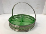 GREEN DEPRESSION DIVIDED DISH IN METAL TRAY