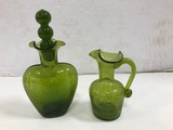 (2) GREEN CRACKLE GLASS PITCHERS