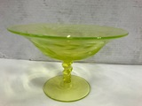 ETCHED YELLOW DEPRESSION GLASS COMPOTE