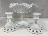 WESTMORELAND MILK GLASS COMPOTE & CANDLE STICKS