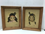 PAIR PAINTED SUEDE INDIAN CHILDREN FRAMED PICTURES