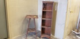 WOODEN 4 SHELF STAND & SPINDLE LEG PLANT STAND