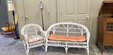 TWO PIECE WICKER SET & CANDLE LAMP