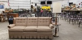BEIGE TWEED COUCH AND FLOOR / TABLE LAMP
