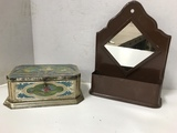 VINTAGE TIN MIRRORED BRUSH HOLDER & TIN CANDY BOX