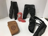 VINTAGE TOY HOLSTERS & RED COWBOY BOOT BANK