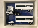 WINROSS 1/64 SCALE CENTRAL FREIGHT LINES INC. DOUBLE TRAILER SEMI