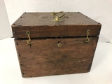 WOODEN BOX W/ BRASS INITIALS A.L.K