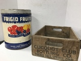 CLICQUOT CLUB BOTTLING CO. CRATE & 5 GAL FRIGID FRUITS CAN