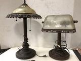 (2) VINTAGE LOOKING METAL & GLASS TABLE LAMPS