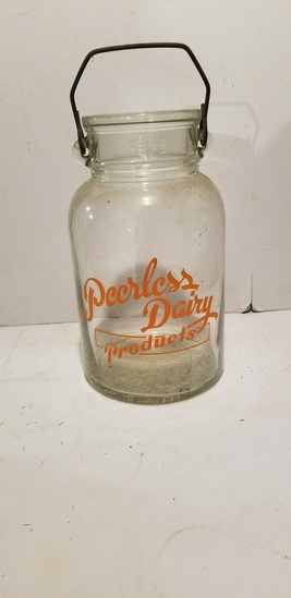 VINTAGE WIDE MOUTH PEERLESS DAIRY PRODUCTS MILK BOTTLE