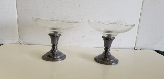 (2) FRANK M. WHITING WEIGHTED STERLING COMPOTE W/ GLASS BOWLS