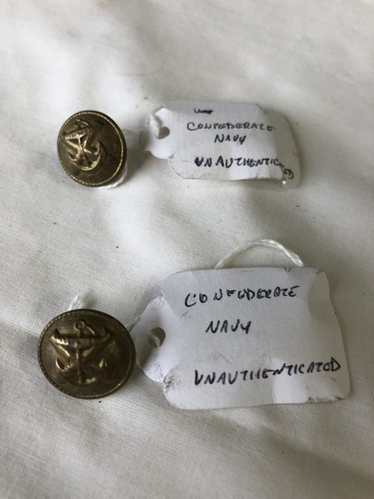 LOT of (2) Confederate Navy Coat Buttons