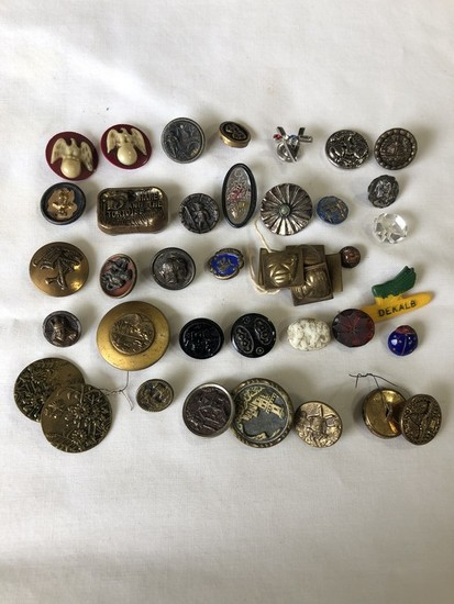 LOT of (39) 1890s to 1940s Child's-Costume-Pinback Buttons