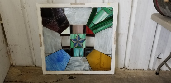 """35"""" X 34"""" STAINED GLASS WINDOW W/ ETCHED SOLDIER PICTURES"""
