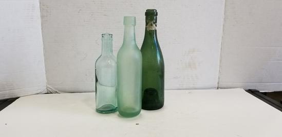 (3) MISC. VINTAGE GLASS BOTTLES