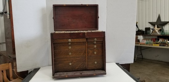 ANTIQUE DENTISTS CABINET W/ TOOLS & EXTRAS